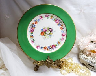 Antique, Johnson Brothers Dinner Plate, Pareek, Green Rim, Floral Center, Gold Trim, Pattern JB985, Made in England, Marked Ovington