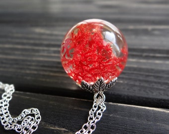 Red necklace nature necklace moss terrarium jewelry nu goth pressed flowers lichen halloween necklace resin jewelry ball necklace orb sphere
