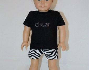 """American Girl 18"""" Doll Cheer Practice Outfit - Zebra Print- t-shirt, shorts, and bow"""