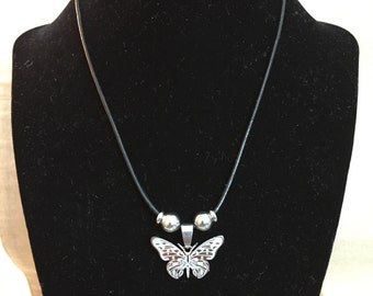 Butterfly Stainless Steel Pendant Genuine Leather Cord Necklace