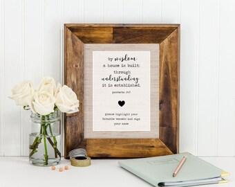 Instant Download Rustic Linen Bridal Shower Favorite Verse Sign 8x10