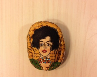 Hand painted brooch pin wearable art textile brooch Woman portrait brooch painting Fabric brooch  accessories  Stylish brooch  Gustav Klimt
