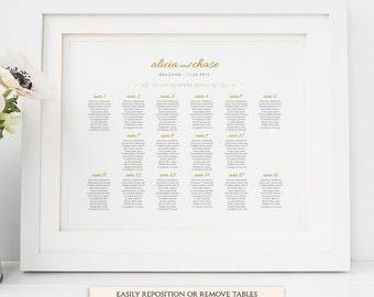 24x18 and A2 size table seating plan printable templates, Wedding Seating Charts, gold wedding, Orlando   Editable printable template