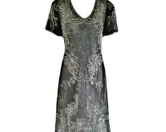 Linda agrémentée robe, robe des années 1920 de Style Gatsby le magnifique grand, Charleston robe Flapper à paillettes, courte soirée gris perlé robe de bal,