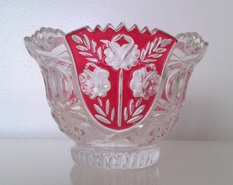 Vintage 1950's Indiana Glass Red Flash Decorative Bowl Dish Mid Century