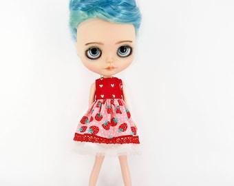 Blythe Pink Dress - Blythe Doll Clothes - Blythe Clothing - Blythe Short Dress - Blythe Red Dress - Blythe Doll Dresses - Blythe Doll Outfit