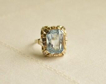Antique Blue TOPAZ Silver 935 Ring, Antique Blue Topaz Ring, Antique Silver Ring, Antique Ring Size 8.25