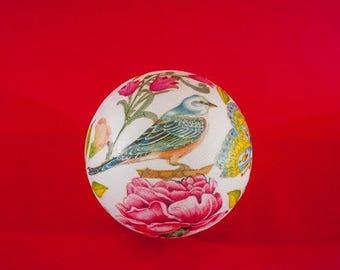 Birds in Garden, unique handmade decoupage ball