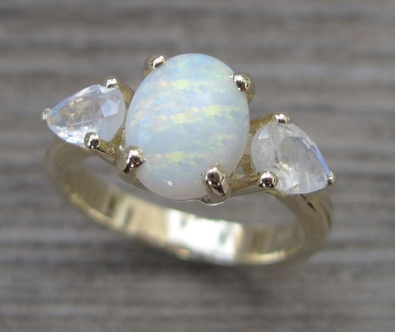 Opal Engagement Ring Moonstone Engagement Ring Vintage Opal
