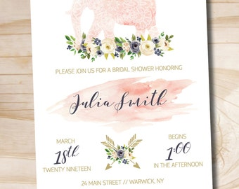 Boho Indian Watercolor Floral Bridal Shower Invitation // Elephant Bridal Shower Invitation  - Custom PDF or Professionally Printed