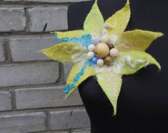 "Fantasy"" brooch, large wet felted light/lemon yellow felt flower, unique one-of-a-kind hand felted accessory"