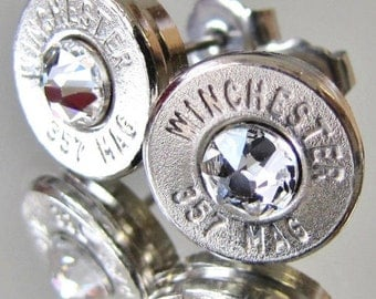 FREE SHIPPING!!! 357 Magnum Winchester BULLET Earrings Crystal Silver Nickel Gold Brass Necklace Pendant Belly Navel Ring Bottle Opener Mag