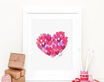 Heart Printable Heart Nursery Decor Valentine's Day Heart Printable Pink and Red Hearts Pink Nursery Love Print Valentine's Day Decoration