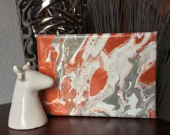 Abstract canvas art | small abstract painting | fluid painting | small acrylic art | original ooak | gray rust painting | mini canvas art