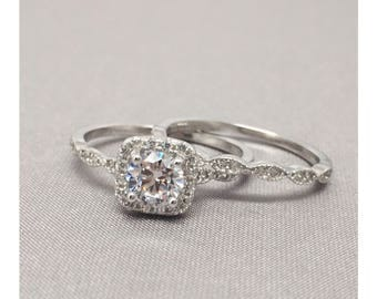 0.50 Ct. Cushion Halo Fine Quality Cubic Zirconia Engagement Ring Set In Sterling Silver, Engagement Ring, Wedding Ring Set