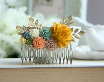 Gold Flower Hair Comb Colorful Orange Dusty Rose Floral Collage Wedding Hair Accessories Leaf Branch Dusty Blue Rose Flower Comb Bridal Comb