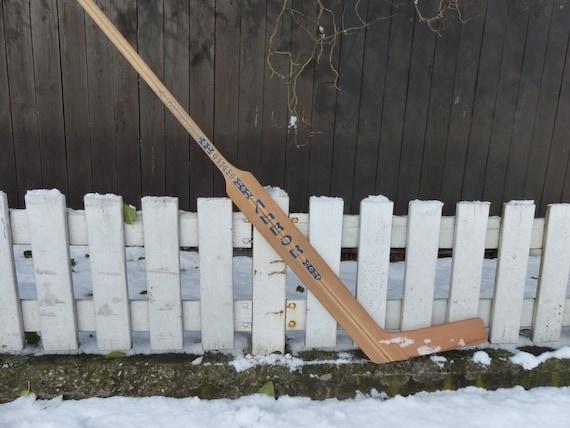 Vintage wood hockey stick / old wood goalie stick / Vintage