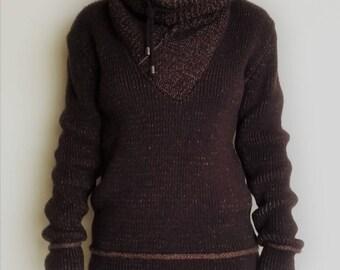 Warm Cozy long neck brown winter Sweater