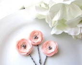 "Pink Blush Bridesmaid Hair Pins Wedding Blush Hair Flowers, 1"" Tiny Silk Fabric Flower Bobby, Small Floral Hairpins, Baby Girl, Grey Pearls"