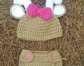 Crocheted deer photo prop