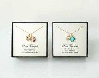 Best Friends Necklaces - Set of 2 Gold Four Leaf Clover, Blush Pink & Turquoise Glass Necklaces, Matching Best Friends Necklaces Gift Set