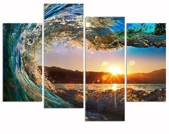 Sea Charm- 4 Panel Florida Seascape Canvas Wall Art. 4 Pcs.