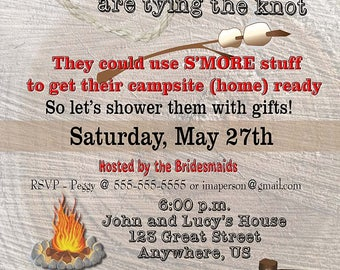 Camping Shower Invitation, Cute and Creative Digital file ready to print