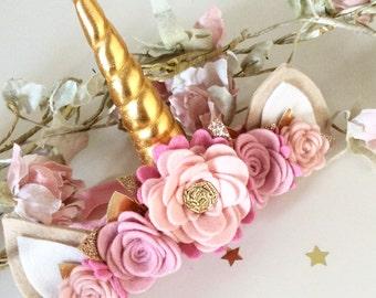 Unicorn Headband Flower Crown - Unicorn Horn Headband - Unicorn Headband - Flower Crown