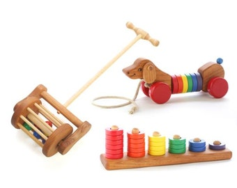 Toddler Wooden Toy Gift Set - Push Toy - Pull Toy - Stacking Toy - Natural Wooden Toys