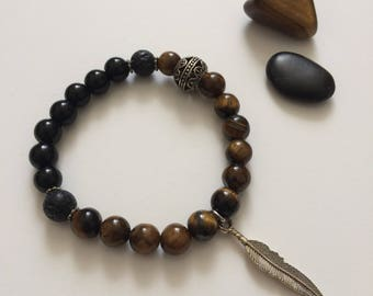 Tiger Eye and Black Onyx - 8mm Semi Precious Stones Bracelet with Feather charm