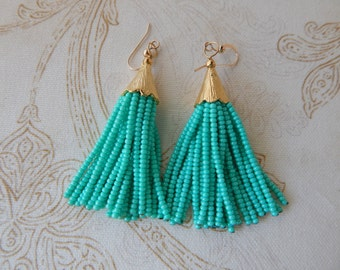 Seafoam green beaded tassel earrings, mini tassels, chandelier earrings, statement jewelry, dangle earrings, seed bead, boho style, trendy