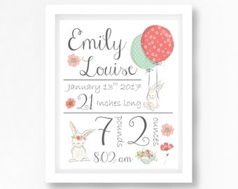 Birth Announcement Wall Art, Birth Details Print, Bunny Nursery Decor, Birth Print, New Baby Girl Gift, Bunny Nursery Art, Birth Stats Print