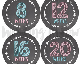 Pregnancy Week Stickers Maternity Shirt Baby Bump Belly Photo Prop Chalkboard Stickers Baby Boy Baby Girl Expecting Mom Pregnant Gift