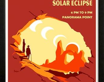 Solar Eclipse Arches National Park Retro poster 1930s Custom Framed A+ Quality
