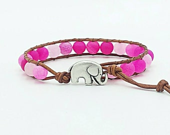 leather wrap bracelet, beaded wrap bracelet, leather bracelet, gemstone leather wrap bracelet, elephant boho bracelet, pink agate bracelet