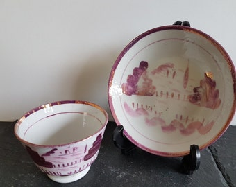 19thC Pink Lustreware Teacup And Saucer ~ Pink Lustre Tea Bowl Or Handleless Cup & Saucer From 1800s ~ Sunderland Lusterware  ~ No Damage