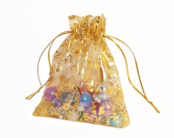 Organza Bags - 15 Yellow Sheer Bags - Voile Drawstring Bag with Pretty Flowers - 12x10cm Drawstring Bags for Jewelry - Favor Bags - BG420