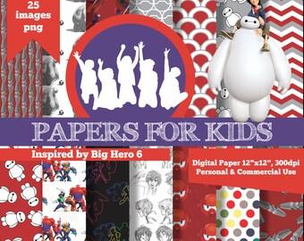Digital Papers, Big Hero 6, Boys, Background, Birthday, Superheroe, Clipart, Papers for Kids