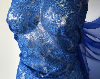 Royal Blue lace fabric Solstiss French Lace Baroque evening gown formal prom red carpet dress Burlesque 95cm wide