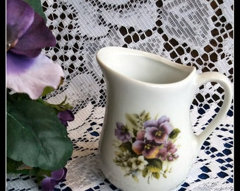 Vintage china purple pansies small jug creamer