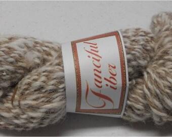 Handspun 100%  Llama Yarn 3 Ply  Tan and White 4.55 oz 80 yd Worsted 9 WPI  (23)