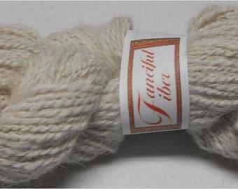 Handspun 100% Llama Yarn 2-Ply White Worsted (4)