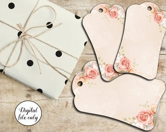 Digital Shabby Chic Floral Lace Rose Tags, Hang Tags, Printable, Craft, Collage Sheet,Hang Tags,Wedding,