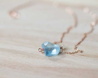 Aquamarine Necklace, Sterling Silver or Rose Gold Filled Chain, Polished Aquamarine Pendant Necklace, March Birthstone Jewelry
