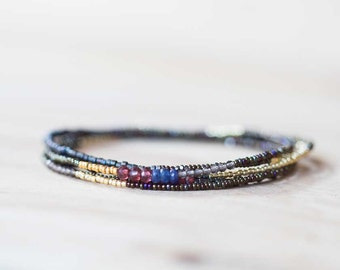 Long Seed Bead Necklace with Garnet, Sapphire & Smokey Quartz Accents, Long Beaded Boho Chic Necklace, Delicate Wrap Bracelet, Tiny Beads