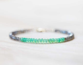 Labradorite & Chrysoprase Bracelet, Chrysoprase Jewelry, Labradorite Bracelet, Chrysoprase Jewelry, Sterling Silver Rose Gold Fill