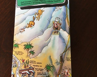 Vintage Visitor's Cartooned Map of Palm Springs (Circa 1988)
