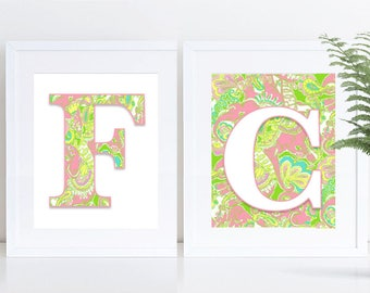 """Lilly Pulitzer Inspired; ALPHABET; Chin Chin; PRINTABLE; 8""""x10"""" and 5""""x7"""""""