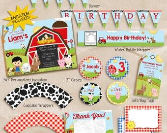 FARM BIRTHDAY Invitation, Farm Birthday Party invitation, Farm Party invite, Barnyard birthday party, Farm birthday invitation boy