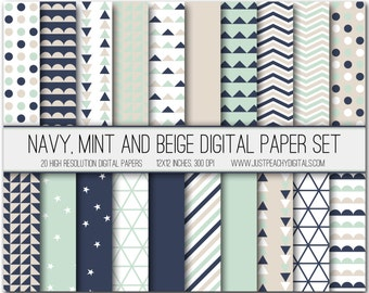navy, mint and beige modern digital scrapbook paper with geometric patterns